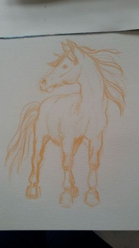 Skizze Pferd im Wind / scribble Horse in the wind. Randnotiz {Bleistift} 2016