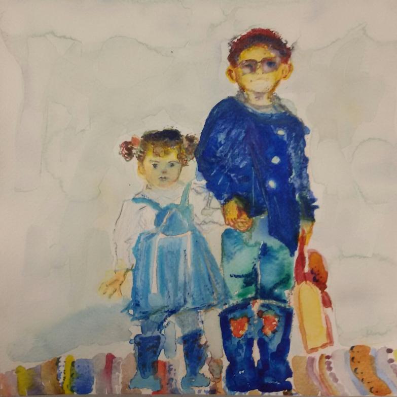 Anatolischer Schuljunge mit seiner Schwester / Anatolian school boy and his sister. Randnotiz {Bleistift} 2016